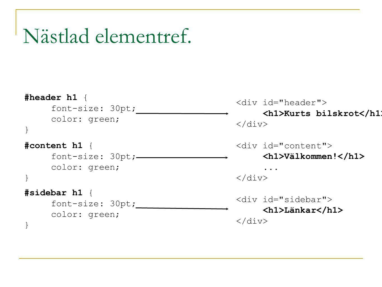 Nästlad elementref. Kurts bilskrot Välkommen!... Länkar #header h1 { font-size: 30pt; color: green; } #content h1 { font-size: 30pt; color: green; } #
