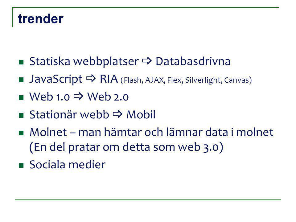 trender Statiska webbplatser  Databasdrivna JavaScript  RIA (Flash, AJAX, Flex, Silverlight, Canvas) Web 1.0  Web 2.0 Stationär webb  Mobil Molnet – man hämtar och lämnar data i molnet (En del pratar om detta som web 3.0) Sociala medier