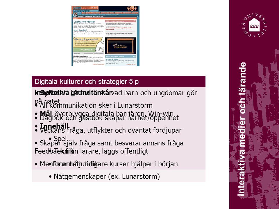 Metoder för nätbaserat lärande 5 p Interaktiva medier och lärande Syfte att bättre förstå vad barn och ungdomar gör på nätet Mål överbrygga digitala b