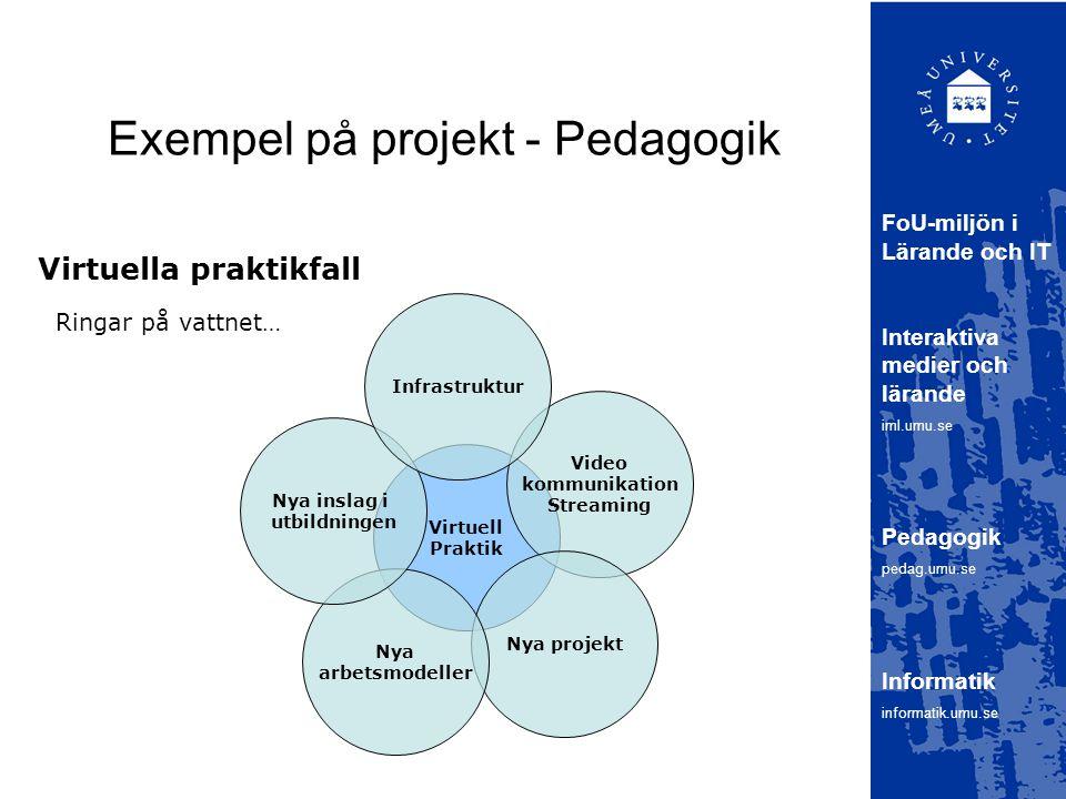 Exempel på projekt - Pedagogik Virtuella praktikfall FoU-miljön i Lärande och IT Interaktiva medier och lärande iml.umu.se Pedagogik pedag.umu.se Informatik informatik.umu.se Virtuell Praktik Video kommunikation Streaming Nya projekt Nya arbetsmodeller Nya inslag i utbildningen Infrastruktur Ringar på vattnet…