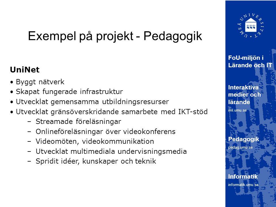 Exempel på projekt - Pedagogik UniNet FoU-miljön i Lärande och IT Interaktiva medier och lärande iml.umu.se Pedagogik pedag.umu.se Informatik informatik.umu.se Byggt nätverk Skapat fungerade infrastruktur Utvecklat gemensamma utbildningsresurser Utvecklat gränsöverskridande samarbete med IKT-stöd –Streamade föreläsningar –Onlineföreläsningar över videokonferens –Videomöten, videokommunikation –Utvecklat multimediala undervisningsmedia –Spridit idéer, kunskaper och teknik
