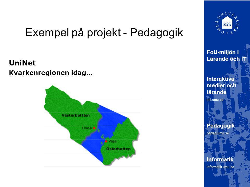 Exempel på projekt - Pedagogik UniNet FoU-miljön i Lärande och IT Interaktiva medier och lärande iml.umu.se Pedagogik pedag.umu.se Informatik informatik.umu.se Kvarkenregionen idag…