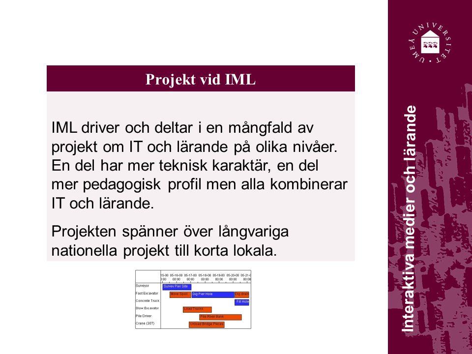 Projekt vid IML IML driver och deltar i en mångfald av projekt om IT och lärande på olika nivåer. En del har mer teknisk karaktär, en del mer pedagogi