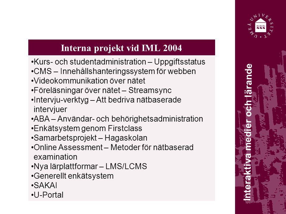 Interna projekt vid IML 2004 Kurs- och studentadministration – Uppgiftsstatus CMS – Innehållshanteringssystem för webben Videokommunikation över nätet