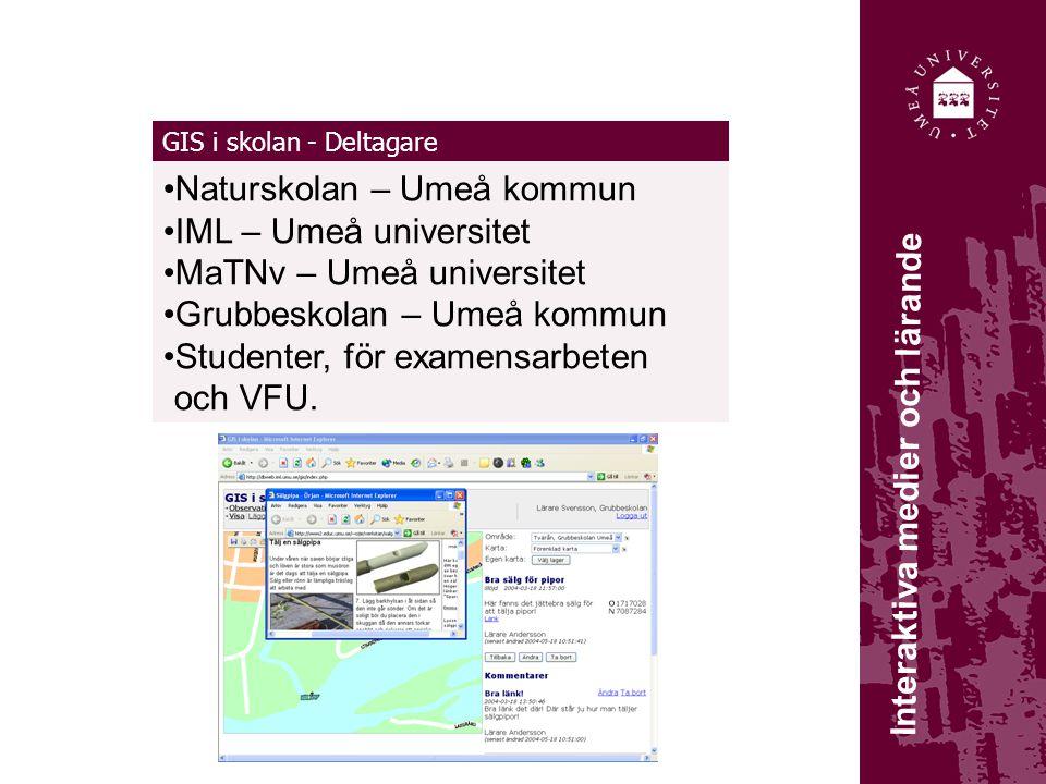 GIS i skolan - Deltagare Naturskolan – Umeå kommun IML – Umeå universitet MaTNv – Umeå universitet Grubbeskolan – Umeå kommun Studenter, för examensar