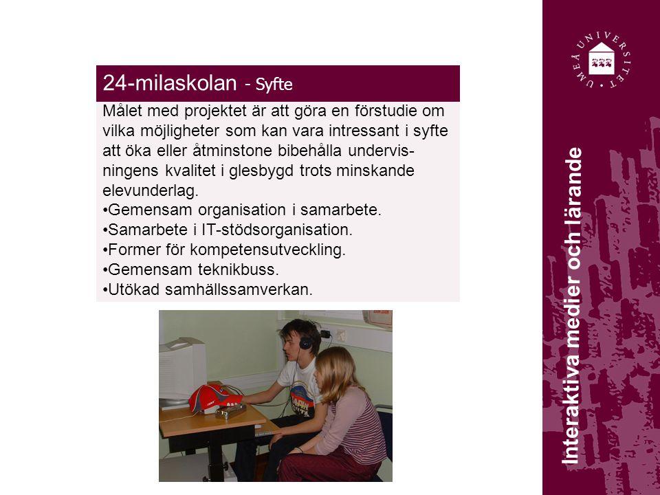 24-milaskolan - Syfte Målet med projektet är att göra en förstudie om vilka möjligheter som kan vara intressant i syfte att öka eller åtminstone bibehålla undervis- ningens kvalitet i glesbygd trots minskande elevunderlag.