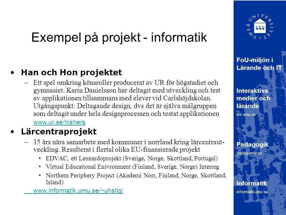 Exempel på projekt - informatik Han och Hon projektet –Ett spel omkring könsroller producerat av UR för högstadiet och gymnasiet.