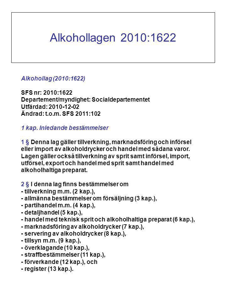 Alkohollag (2010:1622) SFS nr: 2010:1622 Departement/myndighet: Socialdepartementet Utfärdad: 2010-12-02 Ändrad: t.o.m.