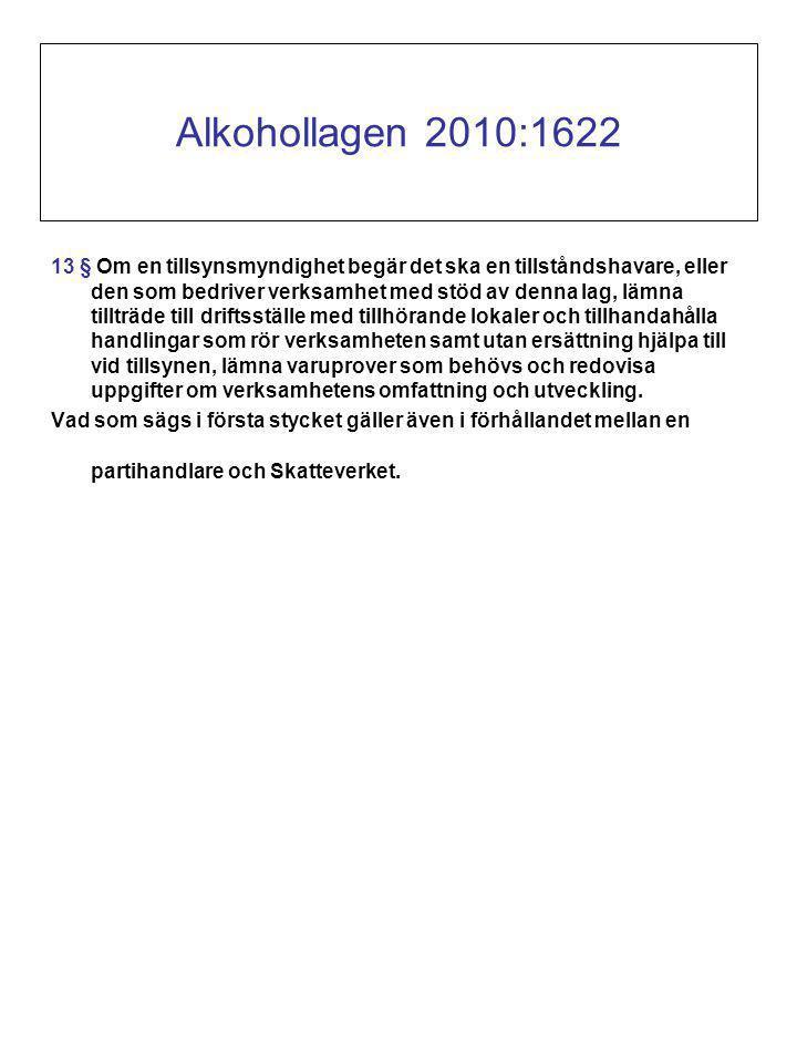 Alkohollagen 2010:1622 13 § Om en tillsynsmyndighet begär det ska en tillståndshavare, eller den som bedriver verksamhet med stöd av denna lag, lämna tillträde till driftsställe med tillhörande lokaler och tillhandahålla handlingar som rör verksamheten samt utan ersättning hjälpa till vid tillsynen, lämna varuprover som behövs och redovisa uppgifter om verksamhetens omfattning och utveckling.