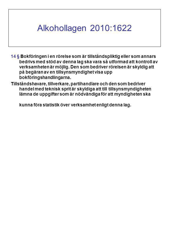 Alkohollagen 2010:1622 14 § Bokföringen i en rörelse som är tillståndspliktig eller som annars bedrivs med stöd av denna lag ska vara så utformad att kontroll av verksamheten är möjlig.