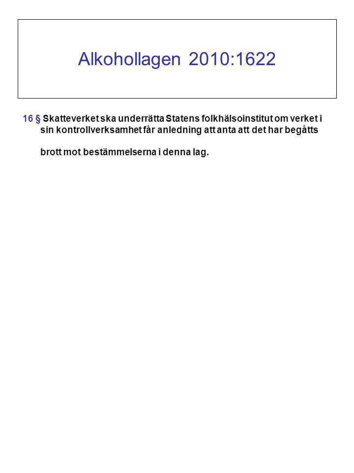 Alkohollagen 2010:1622 16 § Skatteverket ska underrätta Statens folkhälsoinstitut om verket i sin kontrollverksamhet får anledning att anta att det har begåtts brott mot bestämmelserna i denna lag.