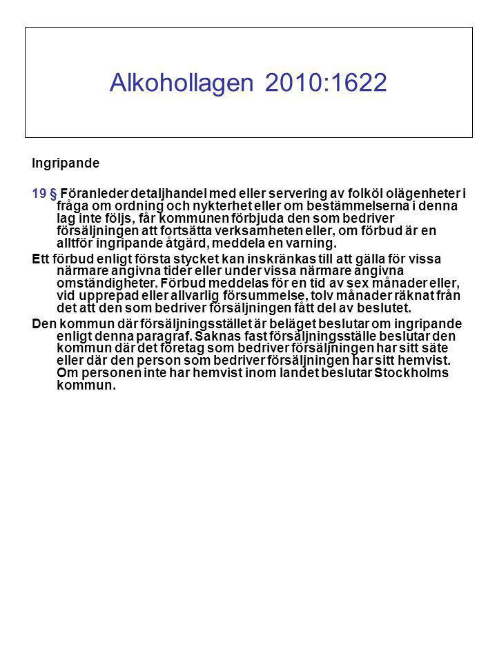 Alkohollagen 2010:1622 Ingripande 19 § Föranleder detaljhandel med eller servering av folköl olägenheter i fråga om ordning och nykterhet eller om bestämmelserna i denna lag inte följs, får kommunen förbjuda den som bedriver försäljningen att fortsätta verksamheten eller, om förbud är en alltför ingripande åtgärd, meddela en varning.