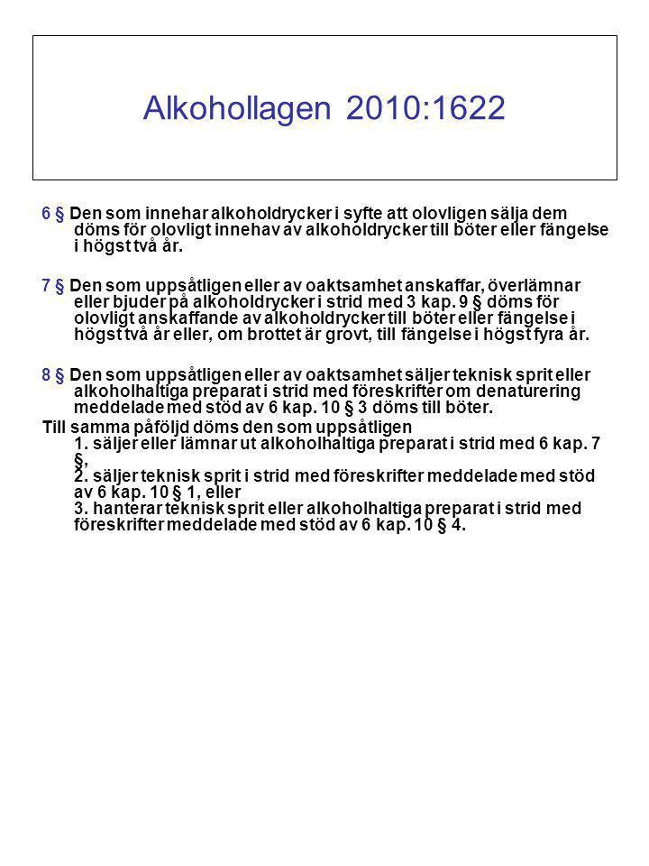 Alkohollagen 2010:1622 6 § Den som innehar alkoholdrycker i syfte att olovligen sälja dem döms för olovligt innehav av alkoholdrycker till böter eller fängelse i högst två år.