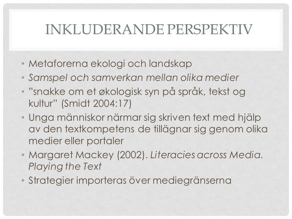 SVENSK SKRIVPEDAGOGISK FORSKNING Normativt perspektiv (Nyström, 2000) Betygen måttstock nya perspektiv; skrivandet en social aktivitet; Berge (1988) Skolestilen som genre - fokusering på de konventionella och sociokulturella egenskaperna i textstrukturering Nyström (2000): genrestudier