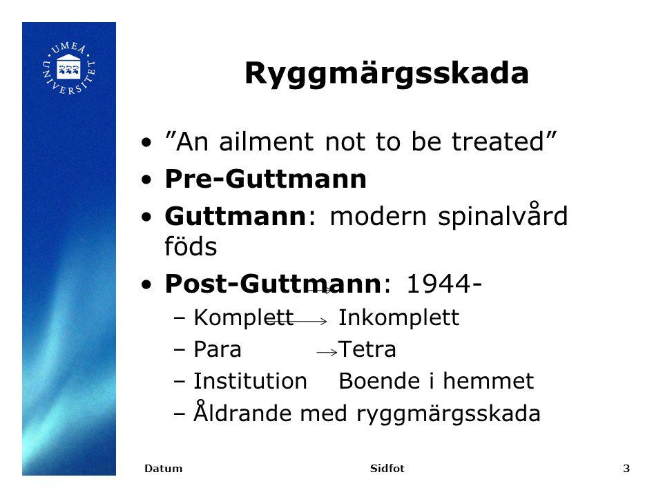 Ryggmärgsskada An ailment not to be treated Pre-Guttmann Guttmann: modern spinalvård föds Post-Guttmann: 1944- –Komplett Inkomplett –ParaTetra –InstitutionBoende i hemmet –Åldrande med ryggmärgsskada DatumSidfot3