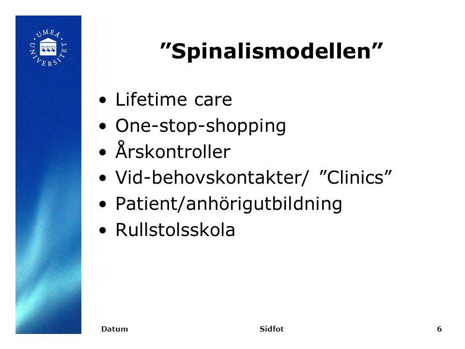 """Spinalismodellen"" Lifetime care One-stop-shopping Årskontroller Vid-behovskontakter/ ""Clinics"" Patient/anhörigutbildning Rullstolsskola DatumSidfot6"