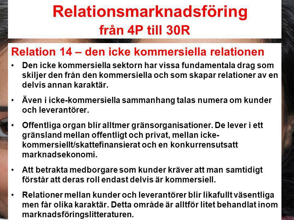 Relationsmarknadsföring från 4P till 30R Relation 14 – den icke kommersiella relationen Den icke kommersiella sektorn har vissa fundamentala drag som