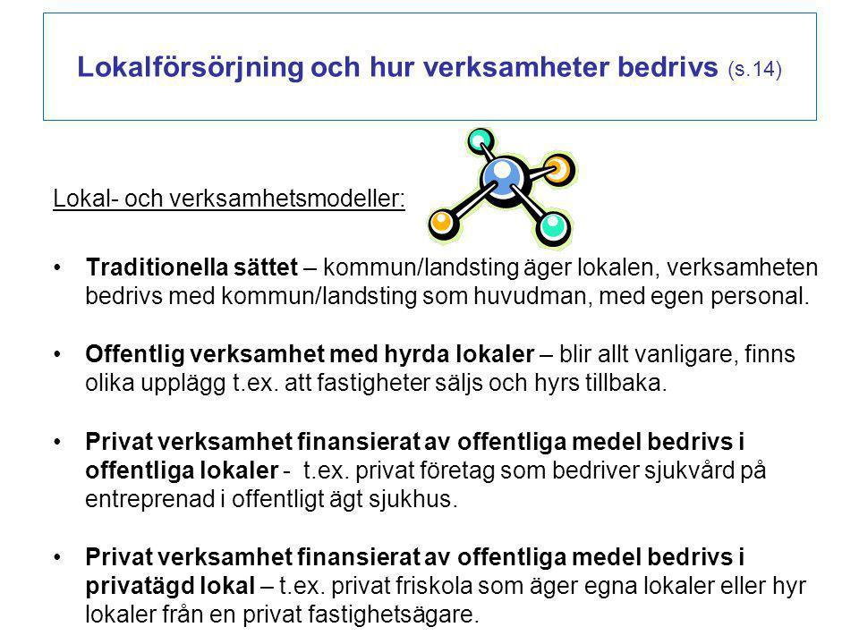 Lokalförsörjning och hur verksamheter bedrivs (s.14) Lokal- och verksamhetsmodeller: Traditionella sättet – kommun/landsting äger lokalen, verksamhete