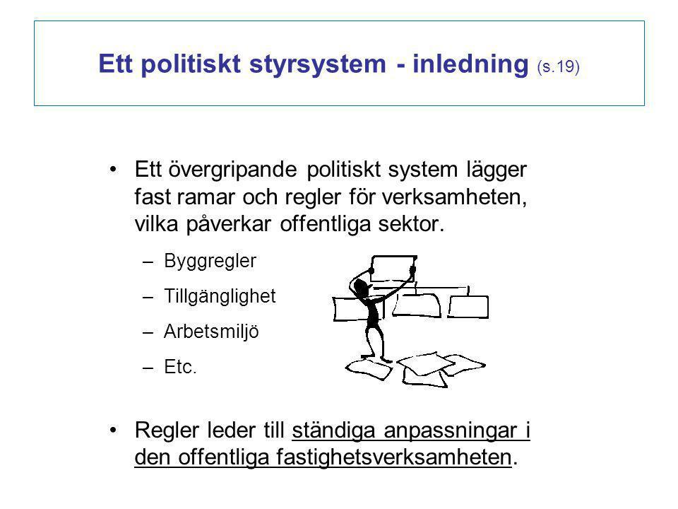 Ett övergripande politiskt system lägger fast ramar och regler för verksamheten, vilka påverkar offentliga sektor. –Byggregler –Tillgänglighet –Arbets