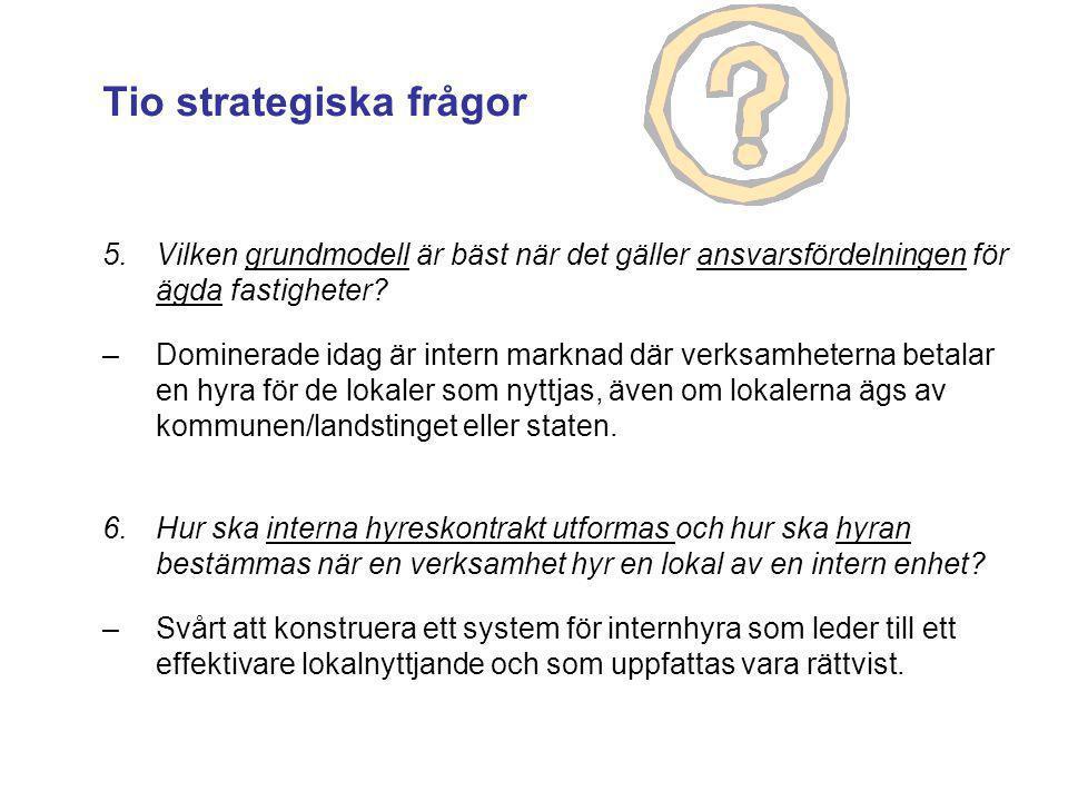 5.Vilken grundmodell är bäst när det gäller ansvarsfördelningen för ägda fastigheter? –Dominerade idag är intern marknad där verksamheterna betalar en