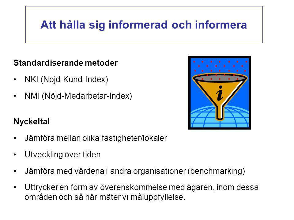 Standardiserande metoder NKI (Nöjd-Kund-Index) NMI (Nöjd-Medarbetar-Index) Nyckeltal Jämföra mellan olika fastigheter/lokaler Utveckling över tiden Jä