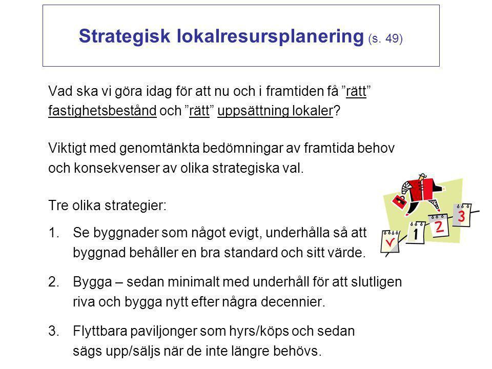"""Strategisk lokalresursplanering (s. 49) Vad ska vi göra idag för att nu och i framtiden få """"rätt"""" fastighetsbestånd och """"rätt"""" uppsättning lokaler? Vi"""
