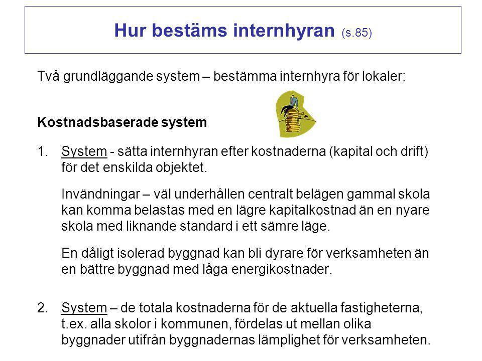 Hur bestäms internhyran (s.85) Två grundläggande system – bestämma internhyra för lokaler: Kostnadsbaserade system 1.System - sätta internhyran efter