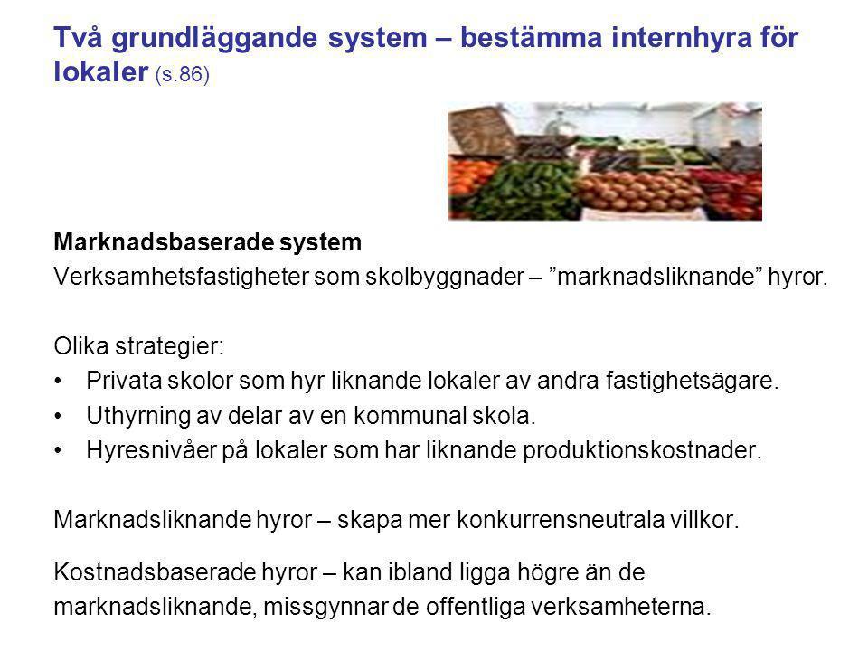 """Två grundläggande system – bestämma internhyra för lokaler (s.86) Marknadsbaserade system Verksamhetsfastigheter som skolbyggnader – """"marknadsliknande"""