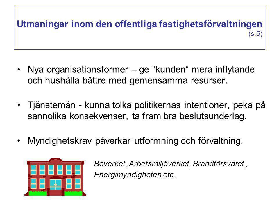 """Utmaningar inom den offentliga fastighetsförvaltningen (s.5) Nya organisationsformer – ge """"kunden"""" mera inflytande och hushålla bättre med gemensamma"""