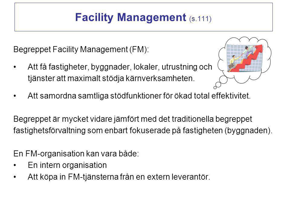 Facility Management (s.111) Begreppet Facility Management (FM): Att få fastigheter, byggnader, lokaler, utrustning och tjänster att maximalt stödja kä