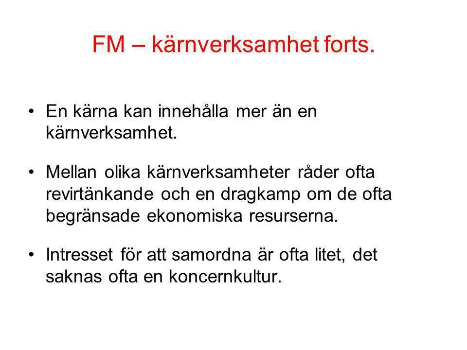 FM – kärnverksamhet forts. En kärna kan innehålla mer än en kärnverksamhet. Mellan olika kärnverksamheter råder ofta revirtänkande och en dragkamp om