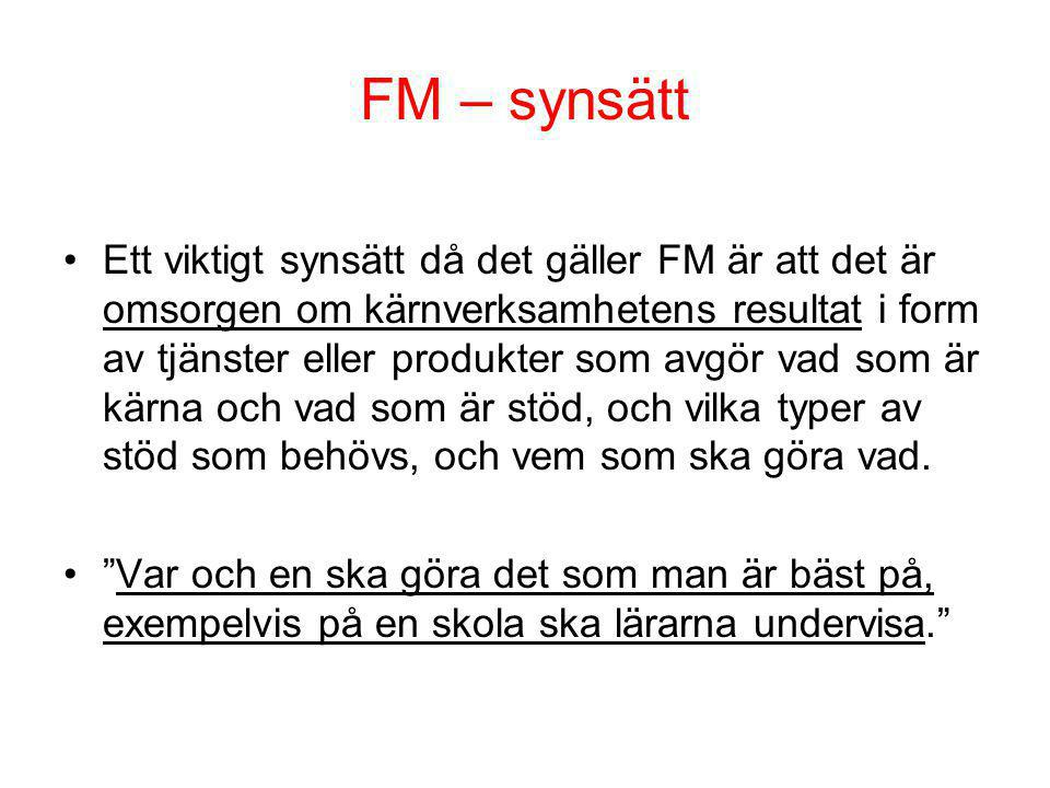 FM – synsätt Ett viktigt synsätt då det gäller FM är att det är omsorgen om kärnverksamhetens resultat i form av tjänster eller produkter som avgör va