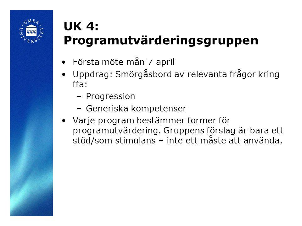 UK 4: Programutvärderingsgruppen Första möte mån 7 april Uppdrag: Smörgåsbord av relevanta frågor kring ffa: –Progression –Generiska kompetenser Varje program bestämmer former för programutvärdering.