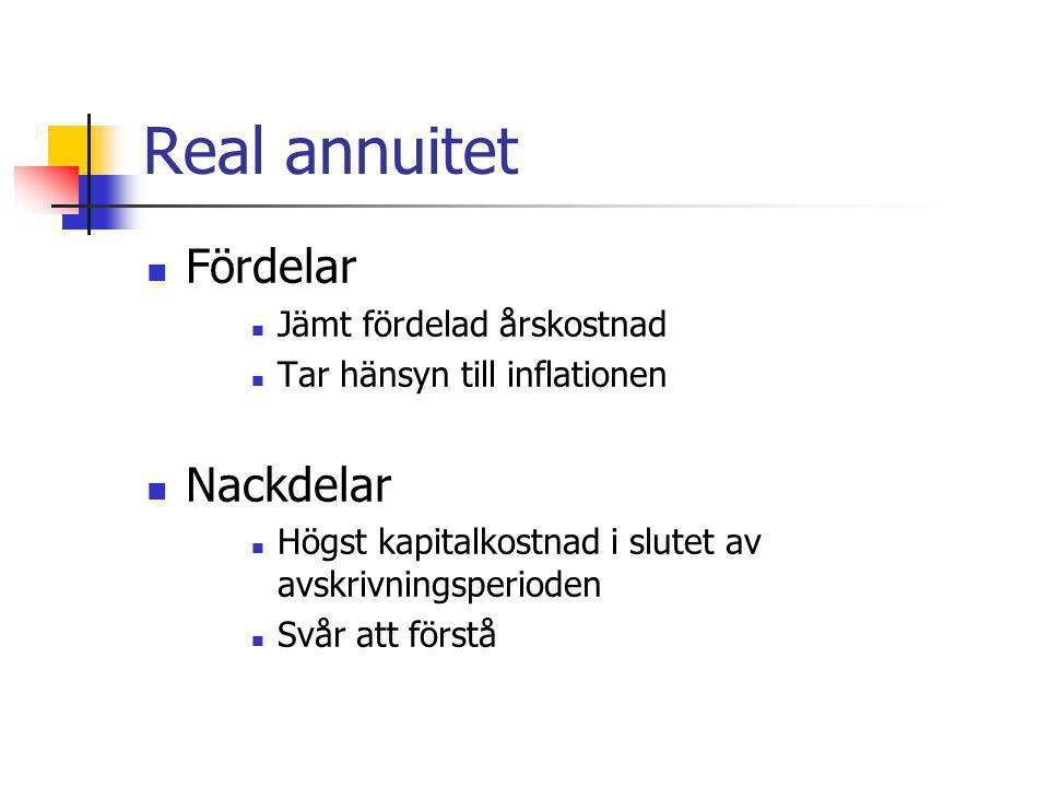 Real annuitet Fördelar Jämt fördelad årskostnad Tar hänsyn till inflationen Nackdelar Högst kapitalkostnad i slutet av avskrivningsperioden Svår att f