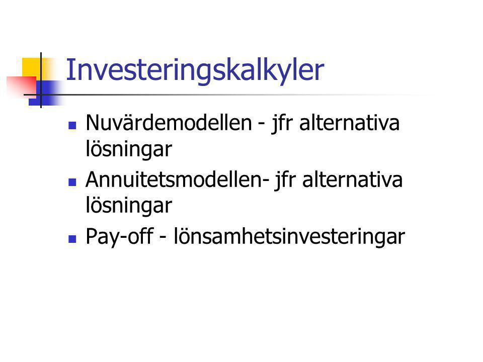 Investeringskalkyler Nuvärdemodellen - jfr alternativa lösningar Annuitetsmodellen- jfr alternativa lösningar Pay-off - lönsamhetsinvesteringar