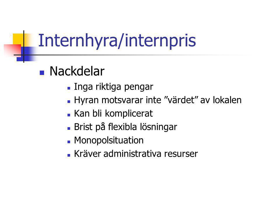 Internhyra/internpris Nivåer Självkostnad på totalnivå Självkostnad på kategorinivå Självkostnad på fastighetsnivå Självkostnad på byggnadsnivå