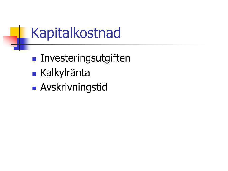 Investeringar Definition Större utgifter t ex > 40 000kr Livslängd minst 3 år Gränsdragningsproblem Investering/underhåll