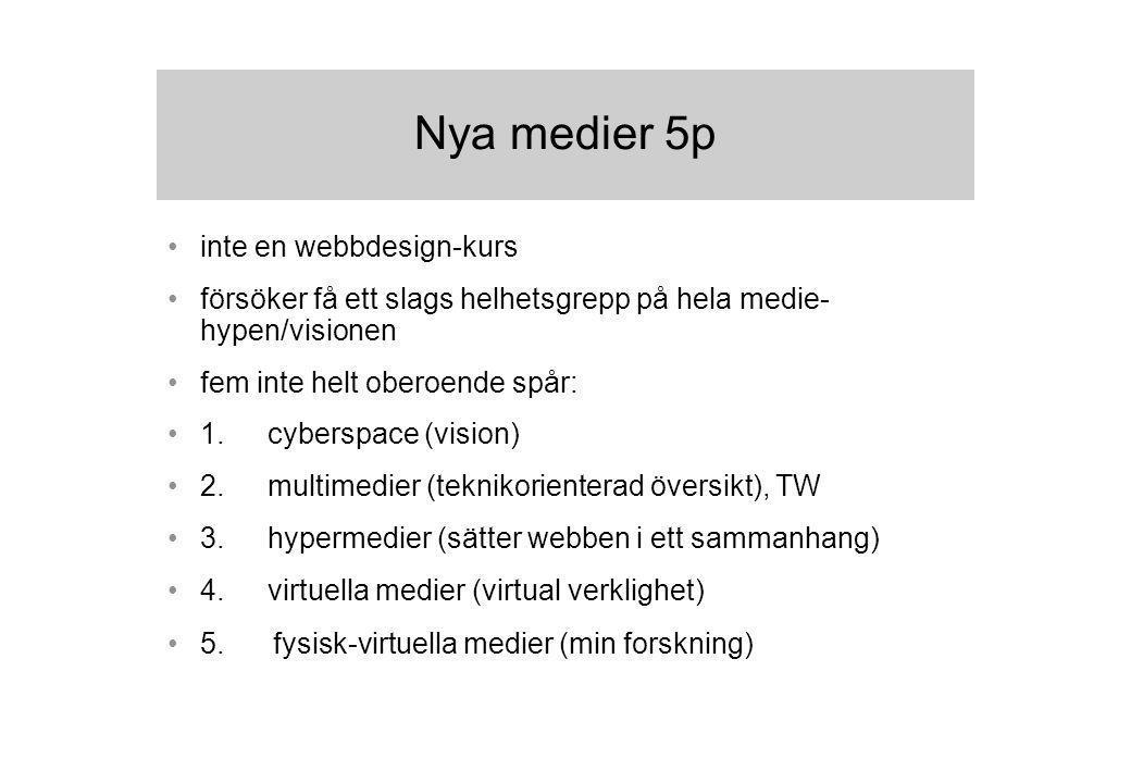 inte en webbdesign-kurs försöker få ett slags helhetsgrepp på hela medie- hypen/visionen fem inte helt oberoende spår: 1.