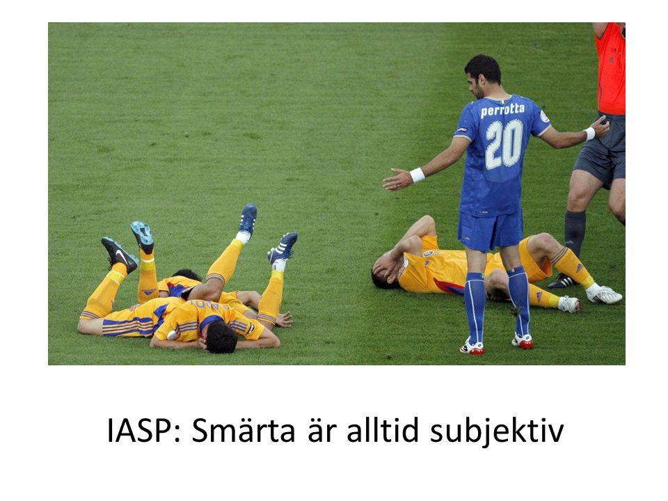 IASP: Smärta är alltid subjektiv