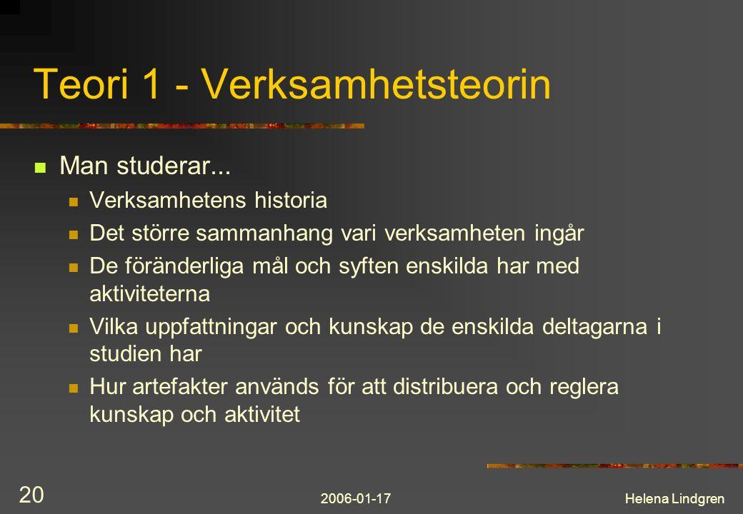 2006-01-17Helena Lindgren 20 Teori 1 - Verksamhetsteorin Man studerar... Verksamhetens historia Det större sammanhang vari verksamheten ingår De förän