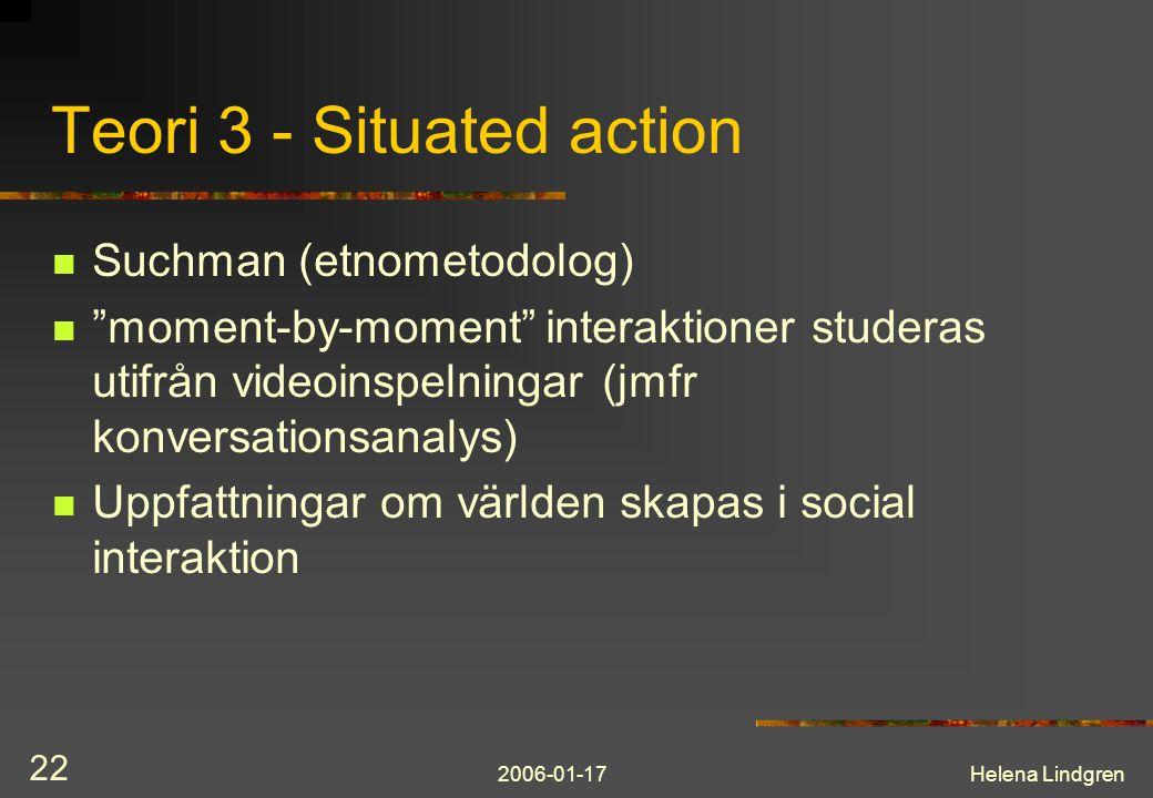 2006-01-17Helena Lindgren 22 Teori 3 - Situated action Suchman (etnometodolog) moment-by-moment interaktioner studeras utifrån videoinspelningar (jmfr konversationsanalys) Uppfattningar om världen skapas i social interaktion
