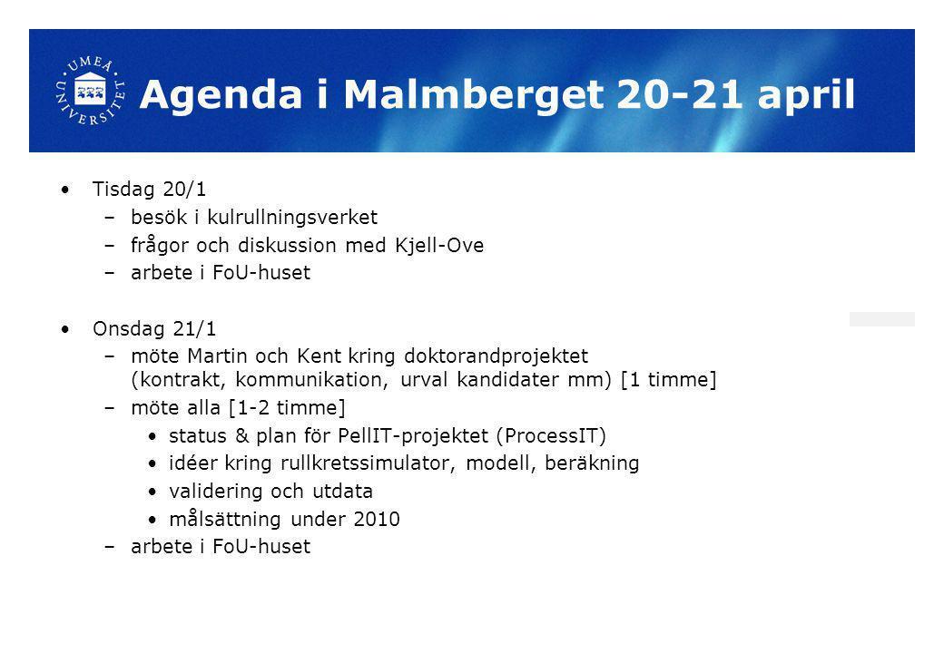 Agenda i Malmberget 20-21 april Tisdag 20/1 –besök i kulrullningsverket –frågor och diskussion med Kjell-Ove –arbete i FoU-huset Onsdag 21/1 –möte Mar