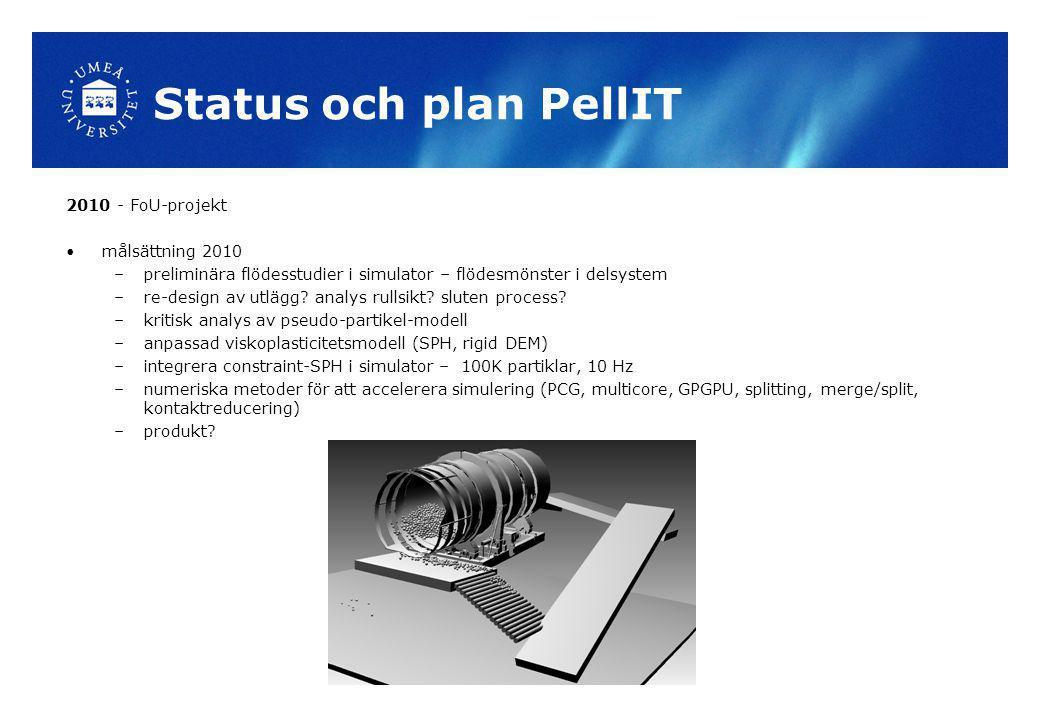 Status och plan PellIT 2010 - FoU-projekt målsättning 2010 –preliminära flödesstudier i simulator – flödesmönster i delsystem –re-design av utlägg? an