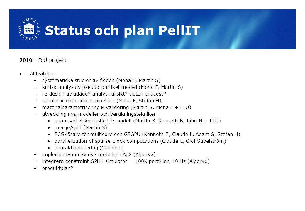 Status och plan PellIT 2010 - FoU-projekt Aktiviteter –systematiska studier av flöden (Mona F, Martin S) –kritisk analys av pseudo-partikel-modell (Mo