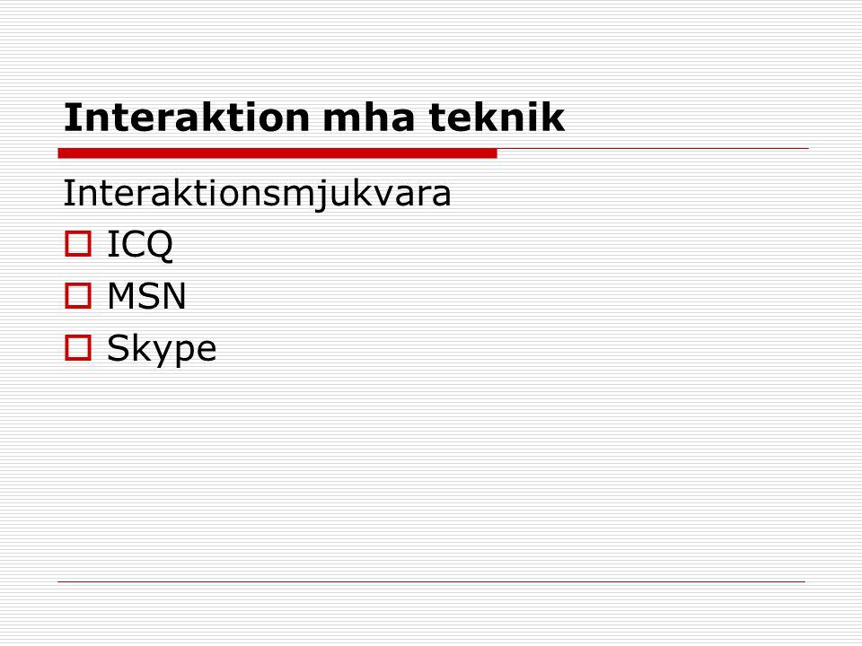 Interaktion mha teknik Interaktionsmjukvara  ICQ  MSN  Skype