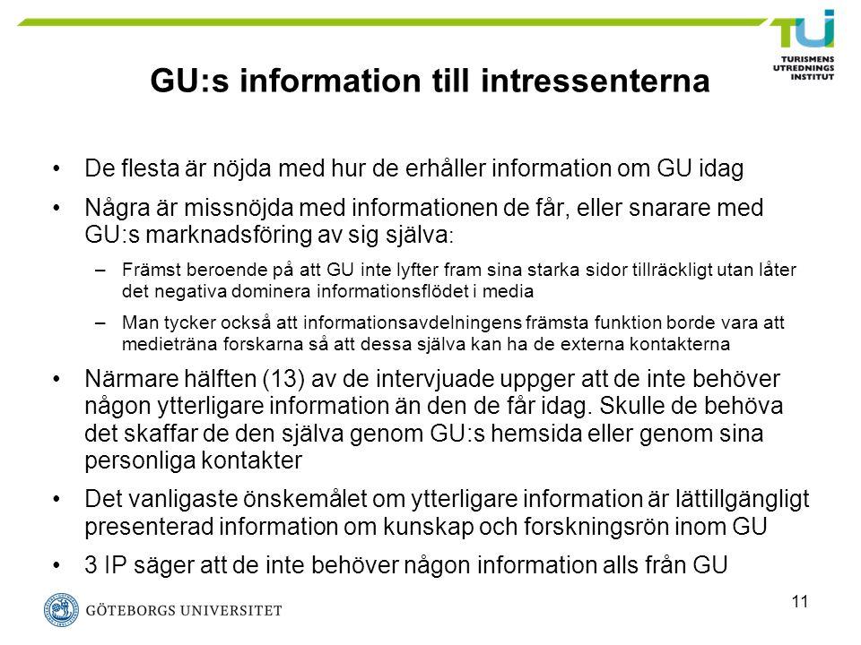 11 GU:s information till intressenterna De flesta är nöjda med hur de erhåller information om GU idag Några är missnöjda med informationen de får, ell
