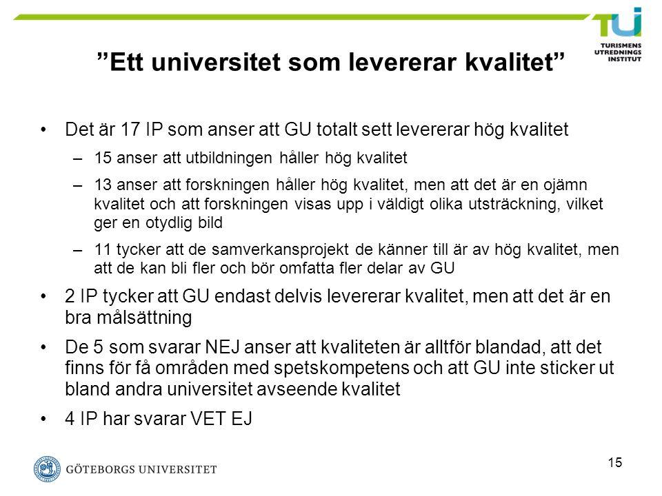 """15 """"Ett universitet som levererar kvalitet"""" Det är 17 IP som anser att GU totalt sett levererar hög kvalitet –15 anser att utbildningen håller hög kva"""