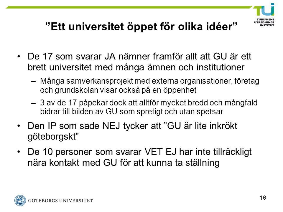 """16 """"Ett universitet öppet för olika idéer"""" De 17 som svarar JA nämner framför allt att GU är ett brett universitet med många ämnen och institutioner –"""