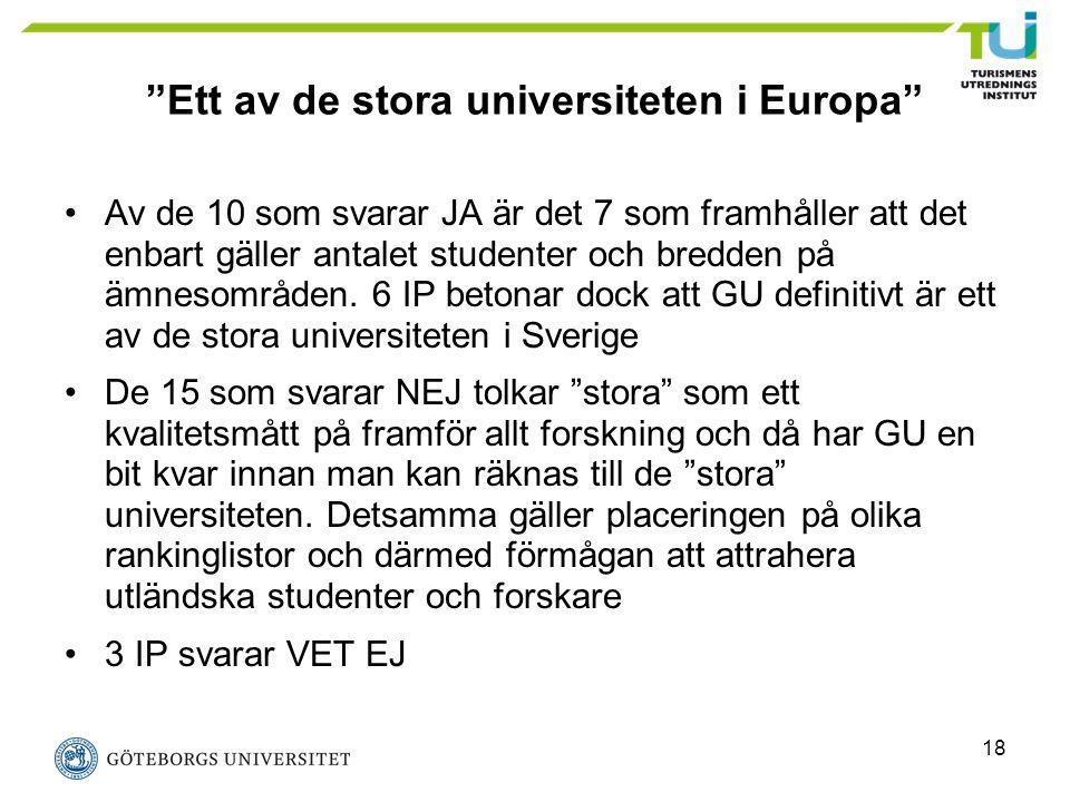 """18 """"Ett av de stora universiteten i Europa"""" Av de 10 som svarar JA är det 7 som framhåller att det enbart gäller antalet studenter och bredden på ämne"""