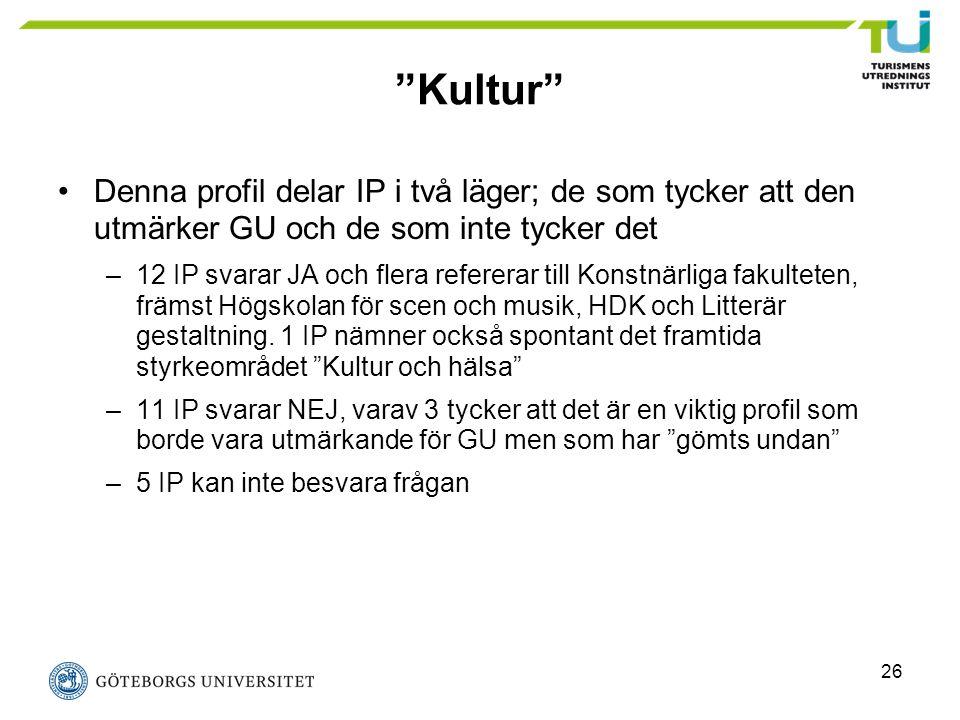 """26 """"Kultur"""" Denna profil delar IP i två läger; de som tycker att den utmärker GU och de som inte tycker det –12 IP svarar JA och flera refererar till"""